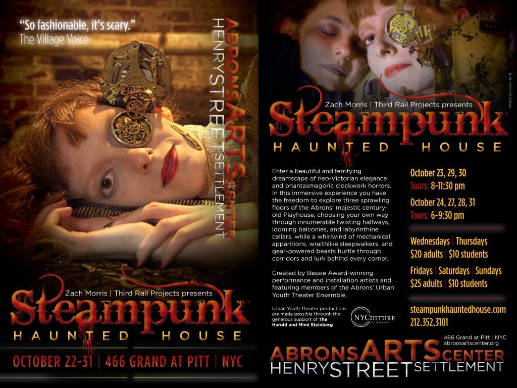 Steampunk Haunted House Postcard